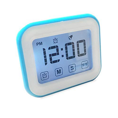 Teepao Digital Küche Timer, Timer Wecker, Küche Timer Alarm Uhr-Kochen Timer, großes Display, Starker Magnet Zurück, lauter Alarm, Memory-Funktion, 12/24Stunde Display Uhr blau -
