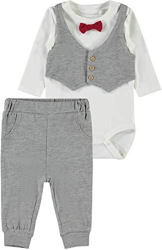 festmode baby NAME IT Baby-Jungen Bekleidungsset NBMSEFEST LS Body Set, Rosa (Grey Melange Dawn Pink), 80