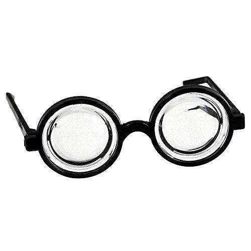 Geek Dress Up Kostüm - Spielzeugbrille, runde, klare Gläser für Verkleidungen Schwarz schwarz