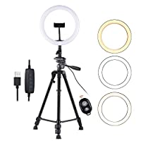 Andoer 10inch LED Ring Light with Tripod Stand Phone Holder Remote Shutter 2800K-5700K Dimmable 3 Colors Light for Live Streaming Makeup Photography Camera Video Lighting