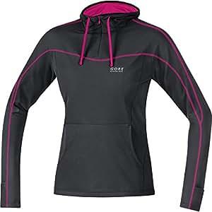 GORE RUNNING WEAR Damen Kapuzen-Langarm-Laufshirt, GORE Selected Fabrics, ESSENTIAL LADY Hoody, Größe 34, Schwarz/Magenta, SESSLH