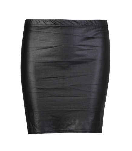 Fast Fashion Damen Röcke Wetlook Kunstleder Bodycon / Ausgestellte (ML = EUR (40-42), Mini-Röcke) (Fashion Sexy Mini-rock)