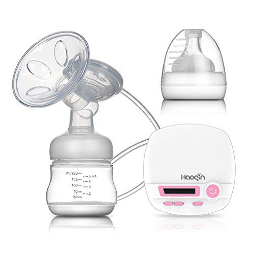 Haoqin Natürliche Komfort Elektrische Einzel-Milchpumpe Niedrige Geräusch Brustpumpe, LCD Display, 9 Stufen Saugleistung Einstellbar und Zwei Modi