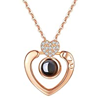 Rose Gold 100 languages I love you Projection Pendant Necklace Romantic Love Memory Wedding Necklace