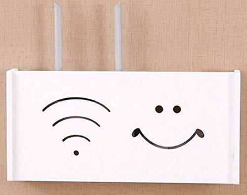 LongTN WiFi Router Aufbewahrungsboxen, lächelnd Gesicht Kabel Netzstecker Draht Aufbewahrungsboxen TV-Set-Top-Box Regal Router Aufbewahrungsbox Sockel mit Rack (L)