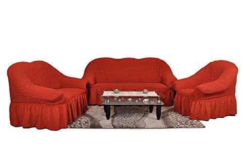 Stretch 2 Sitzer Bezug, 2 Sitzer Husse aus Baumwolle & Polyester. Sehr elastische Sofaueberwurf in terracotta. Sofabezug Hussen Sofahusse Stretch Husse / Stretch Hussen / Sofahusse 2-Sitzer / Sofabezug 2 Sitzer