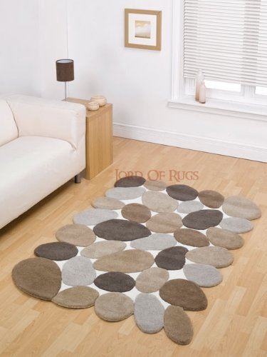 Decotex Pebbles Beige Contemporary Rug Rug Size: 180cm x 120cm (5 ft 11 in x 3 ft 11 in)