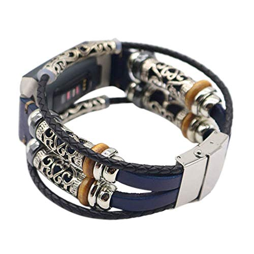 Vamoro Ersatzarmband mit Lederarmband für Fitbit Charge 3 Vintage Uhrenarmband Armband Premium Uhrenarmband(Blau)