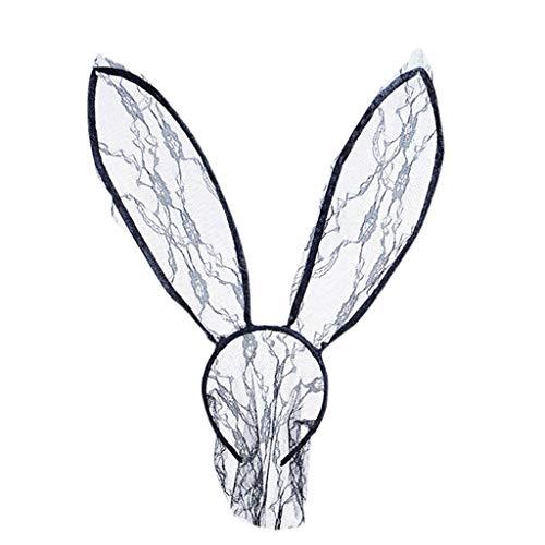 Tensay Schnüren Sie sich transparentes Kaninchen Ohr Stirnband Cosplay Partei Halloween Kostüm das Erwachsenen nettes Häschen Ohr Haarband für Weihnachten passt