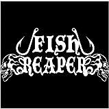 DDLLAN Adesivi per Auto Pesce Reaper Cranio Ami da Pesca Fiamma Auto Barca Vinile Adesivo Decalcomania Autoadesivo del Motociclo Adesivi Decorazione 16CM * 8.1CM Adesivo da Auto 2pcs