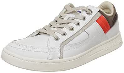 Calvin Klein Jeans Percy Action Leather/Patent, Baskets mode homme - Blanc (Ibo), 39 EU