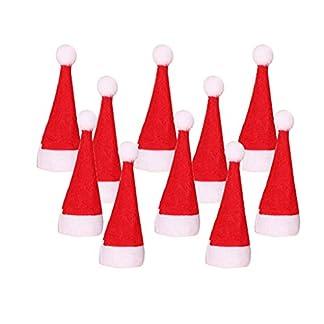 WARMWORD 10 Piezas Mini Sombrero de Navidad Gorro de Elfo Sombrero de Piruleta Dulces Bolsa de Botellas de Vino Navidad Decoración de Mesa Accesorio de Navidad