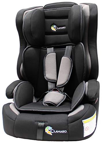 Clamaro \'Guardian FLEX\' 2in1 Isofix Kinderautositz 9-36 kg, Umbau zur einfachen Sitzerhöhung möglich, Auto Kindersitz für Kinder von 1-12 Jahre, Gruppe 1/2/3, ECE R44/04, Farbe: Grau/Schwarz