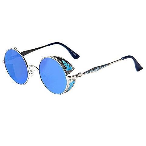 LianSan Klassisch Retro Runden Kreis Brillen Frauen Männer Sonnenbrille Metall Brücke C2877 Blau