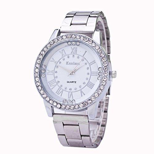 Preisvergleich Produktbild Uhren, Hansee Damen Herren Kristall Strass Edelstahl Analog Quarz Armbanduhr (Silber)