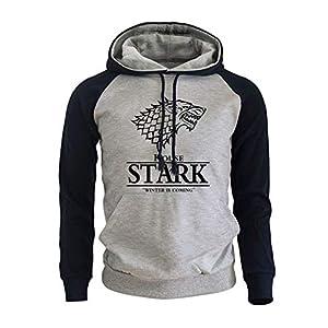 Game of Thrones Stark Unisex Hombre Impresión Pullover Sudaderas con Capucha con Bolsillos Grandes 3