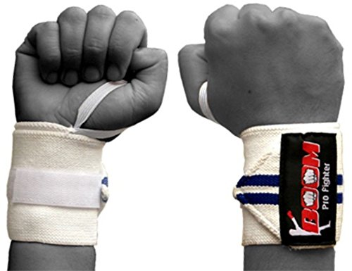 BOOM Prime White and Blue Wrist Support Wraps Turnhalle Workout Power Gewichtheben Crossfit Bodybuilding Training Übung