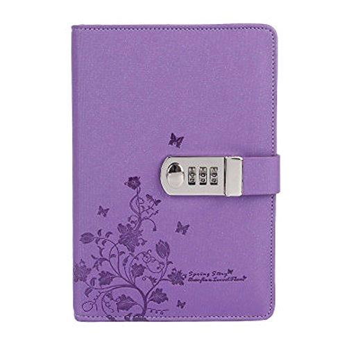 Cheerlife Tagebuch mit Passwort PU Leder Notizbuch mit Schloss DIN A5 Notizblock gedruckt Reisetagebuch mit Blumen Schmetterlinge (Lila) (Tagebuch Lila)