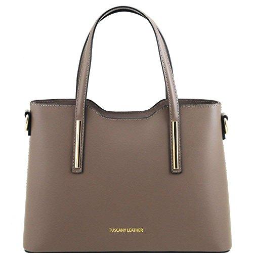 Tuscany Leather - Olimpia - Sac cabas en cuir Ruga - Petit modèle - Taupe foncé