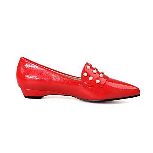 AgooLar Femme Pu Cuir à Talon Bas Pointu Mosaïque Tire Chaussures Légeres Rouge