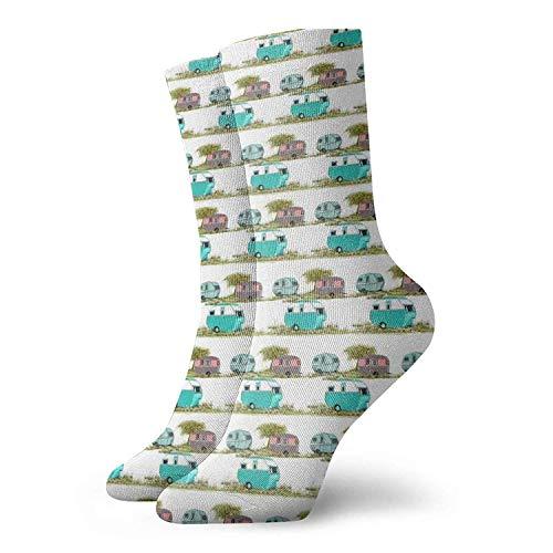 Socken Lets Go Camping Retro Reiseanhänger Damen Crew Socken Lustige Neuheit Athletic Crew Kleid Casual Socken Geschenkideen