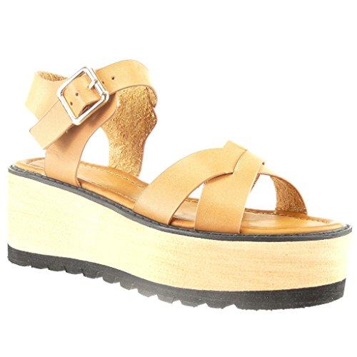 Angkorly Damen Schuhe Sandalen - Plateauschuhe - Offen - String Tanga - Multi-Zaum Keilabsatz High Heel 6 cm - Camel L1892 T 40 (Heels Kork)