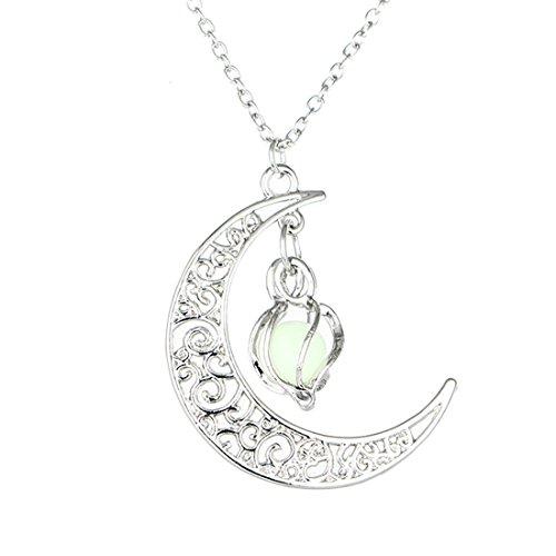 MJARTORIA Femme Bijoux Collier Chaine Pendentif Forme Lune Lanterne Lumineux Gravure Couleur Arg