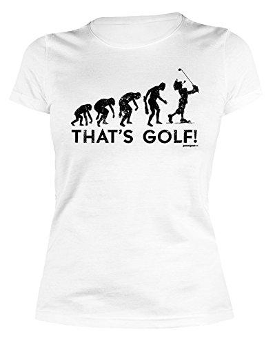 Geburtstag Golf Shirt (Damen T-Shirt Golf - lustige Sport Sprüche : Evolution - That`s Golf! - Golf Sportshirt Frauen Farbe: Weiss Gr: XL)