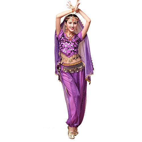 Bauchtanz Tribal Tanz Outfits Tanzkleidung Bauchtanz Kostüm Set Indischer Tanz Top & Paillette Bauchtanz Hose (Kostüme Tanz Schals)