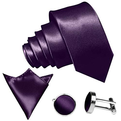 GASSANI 3-SET Krawattenset, 8,5Cm Breite Lilane Violette Herren-Krawatte Schmal Manschettenknöpfe Ein-Stecktuch, Bräutigam Hochzeitskrawatte Glänzend