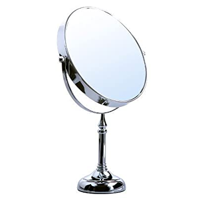 Songmics 10x Bathroom Makeup Mirror Shaving Mirror free standing tabletop Mirror for Compact Beauty round 360° swivel BBM006 produced by Songmics - quick delivery from UK.