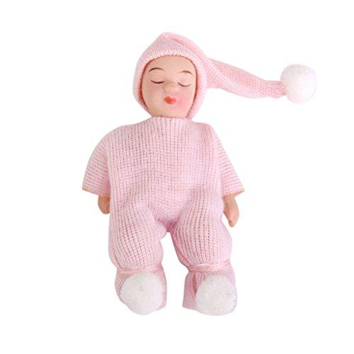 1:12 Puppenhaus Mini Niedlichen Baby Puppe Puppen mit Rosa Pullover Dekor Porzellan Puppe Baby