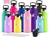 KollyKolla Vakuum-Isolierte Edelstahl Trinkflasche, 350ml BPA-frei Wasserflasche mit Filter, Thermosflasche für Kinder, Mädchen, Schule, Kindergarten, Sport, Wandern, Camping, Outdoor, Rosa