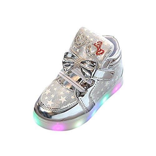 Wawer Kleinkind Unisex Baby Mode Klett Turnschuhe Herz Leucht Kind Casual Bunte Licht Schuhe 1-6 Jahre Alt (23, Silber) Kd 4 Kinder