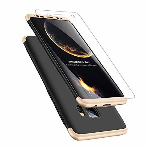 Samsung Galaxy s9 Hülle, DYGG Flexiblem PC Hybrid Schutzhülle Kohlenstoff-Fasern Tasche Slim-Fit Case für Samsung Galaxy s9 Schwarzes Gold