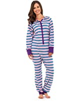 Ladies & Girls Comfy Snug Cosy Colourful Striped Hooded Onesies - Range of Colours & Sizes