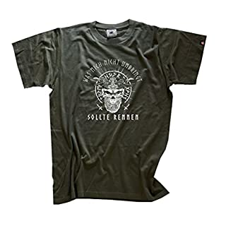 Viking-Shirts Was mich nicht umbringt sollte rennen-Odin T-Shirt Olive XL