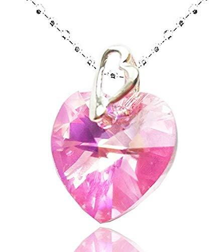 Dioor gioielli per le donne regali per donna, cristallo/argento/oro collana con ciondolo cuore rosa collana con ciondolo a goccia