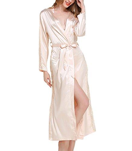 Asskyus Kimono Abito da Notte in Raso Leggero da Donna, Accappatoio per Donna Stile Lungo (Taglia Unica, Champagne)