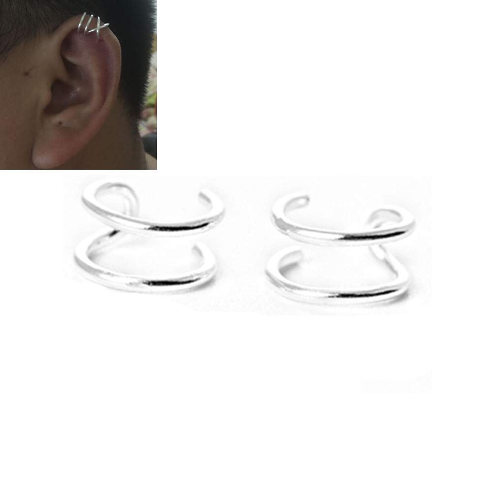 HOMEYU 925 Sterling Silver Sin Piercing Ear Cuffs Criss Cross Lines Ear Cuff para el cartílago del oído Superior, Fake Conch Earring 1 Pair