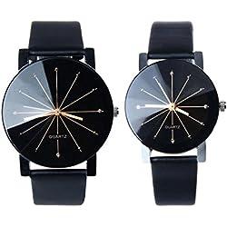Sunnywill 1 paar Herren und Frauen Quarz Zifferblatt Uhr Leder Armbanduhr für verliebte Paare