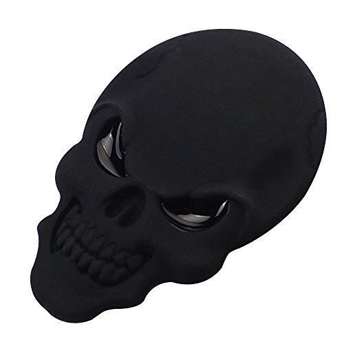 Eizur 3D Cranio Lega Metallo Adesivo per Auto moto Scheletro osso Emblem Badge Autoadesivo Styling Car Sticker decalcomania Accessori Taglia 3.4*5cm--Nero - Coccinella Specchio