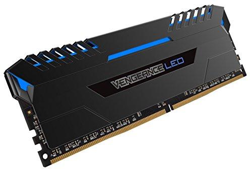 Corsair CMU16GX4M2A2666C16B Vengeance LED 16GB (2x8GB) DDR4 2666MHz C16 XMP 2.0 Enthusiast LED Illuminated Memory Kit - Black with Blue LED Lighting