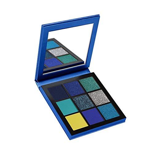 Cooljun 9 Couleurs scintillement Matte Fard à Paupières Palette Shimmer Maquillage Métallique Ombre à Paupières longue durée imperméable à l'eau (Bleu)