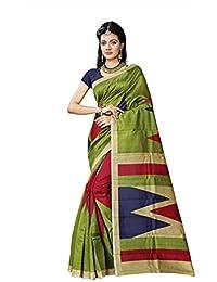 Fabwomen Sarees Floral Print Multi Coloured Cotton Silk Bhagalpuri Traditional Festive Wear Women's Saree/Sari.