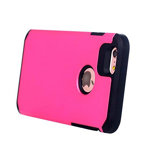 UKDANDANWEI iPhone 6 / 6s Double Couche Case Housse Silicone [Bouclier Légère] Etui de Protection for iPhone 6 / 6s - Noir Rose vif