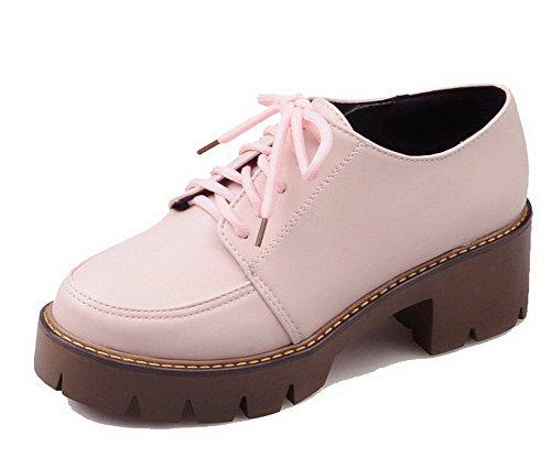 VogueZone009 Damen Weiches Material Rund Zehe Schnüren Rein Pumps Schuhe Pink
