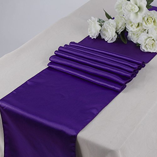 Eds Pack Of 10 Wedding 12 X 108 Inch Satin Table Runner For Wedding Banquet  Decor  Cadbury Purple Part 85