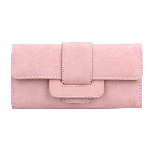 Rosa Leder Kupplung (Domybest weichem PU-Leder Frauen Haspe Geldbörse Fashion tri-Folds Kupplung Münzfach Karte rosa Rose)