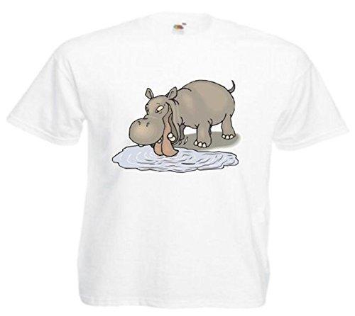 Motiv Fun T-Shirt Flusspferd Nilpferd beim Trinken Cartoon Spass Film Serie Moti Weiß